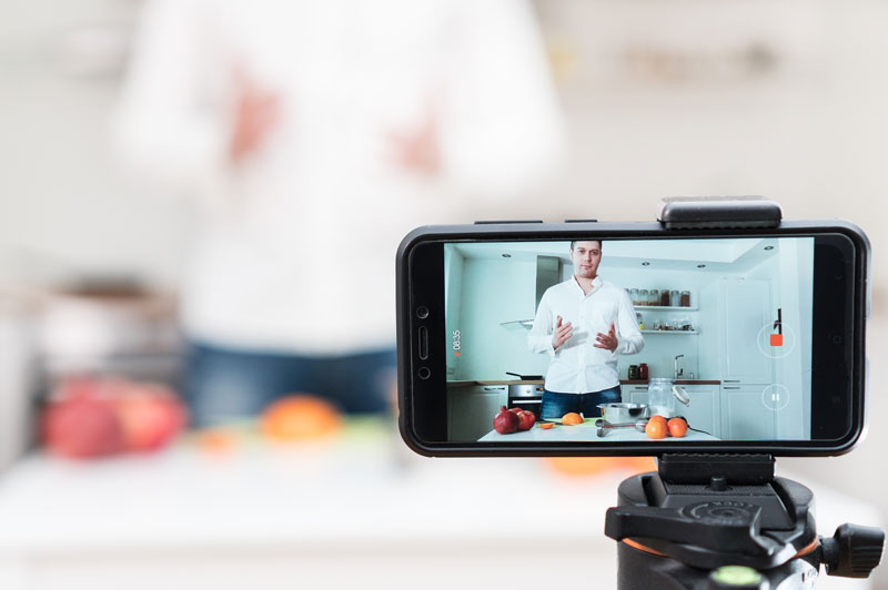 Chef live streaming a cooking show